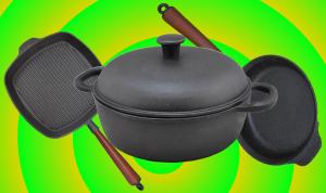 naczynia kuchenne z żeliwa, garnki żeliwne, patelnie żeliwne