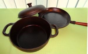 naczynia z surowego żeliwa, naczynia z żeliwa, naczynia żeliwne, żeliwne naczynia