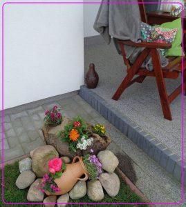 mini skalniak, mini ogródek, donice na taras